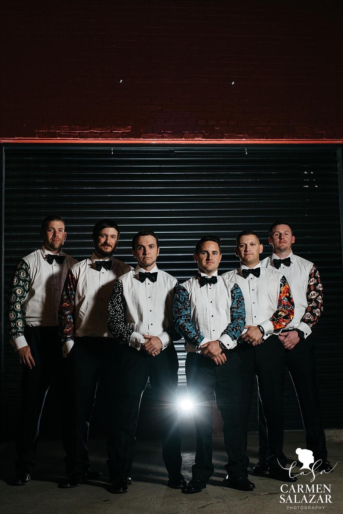 Personalized sports team wedding tuxedo shirts - Carmen Salazar