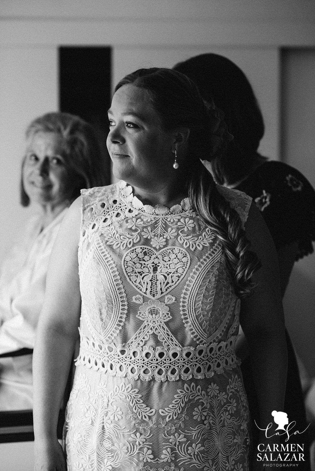 Bride wearing Anthropologie wedding dress - Carmen Salazar