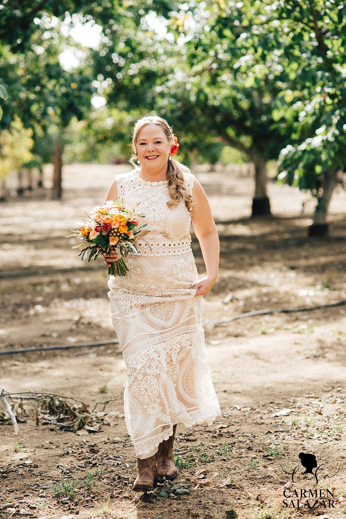Beautiful Winters bride in family orchard - Carmen Salazar