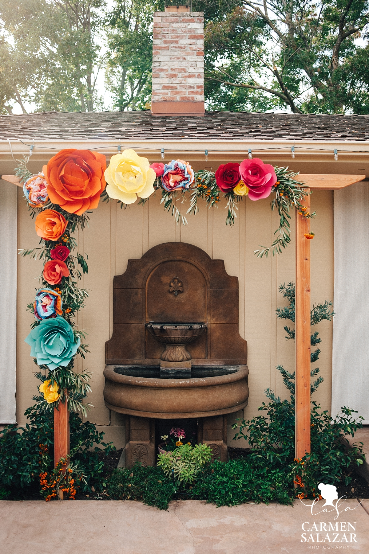 DIY Mexcian paper flower wedding arbor - Carmen Salazar