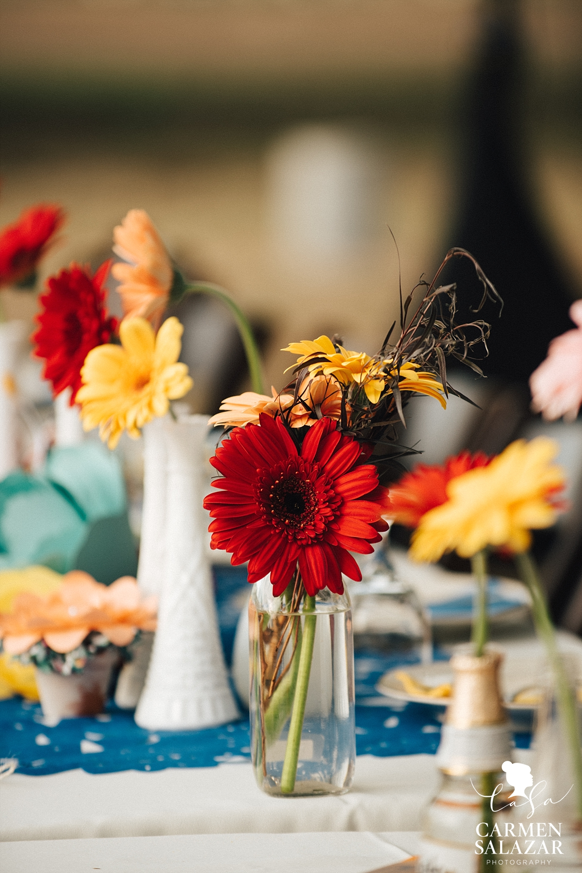 Fall wedding floral centerpieces at Mexican wedding - Carmen Salazar