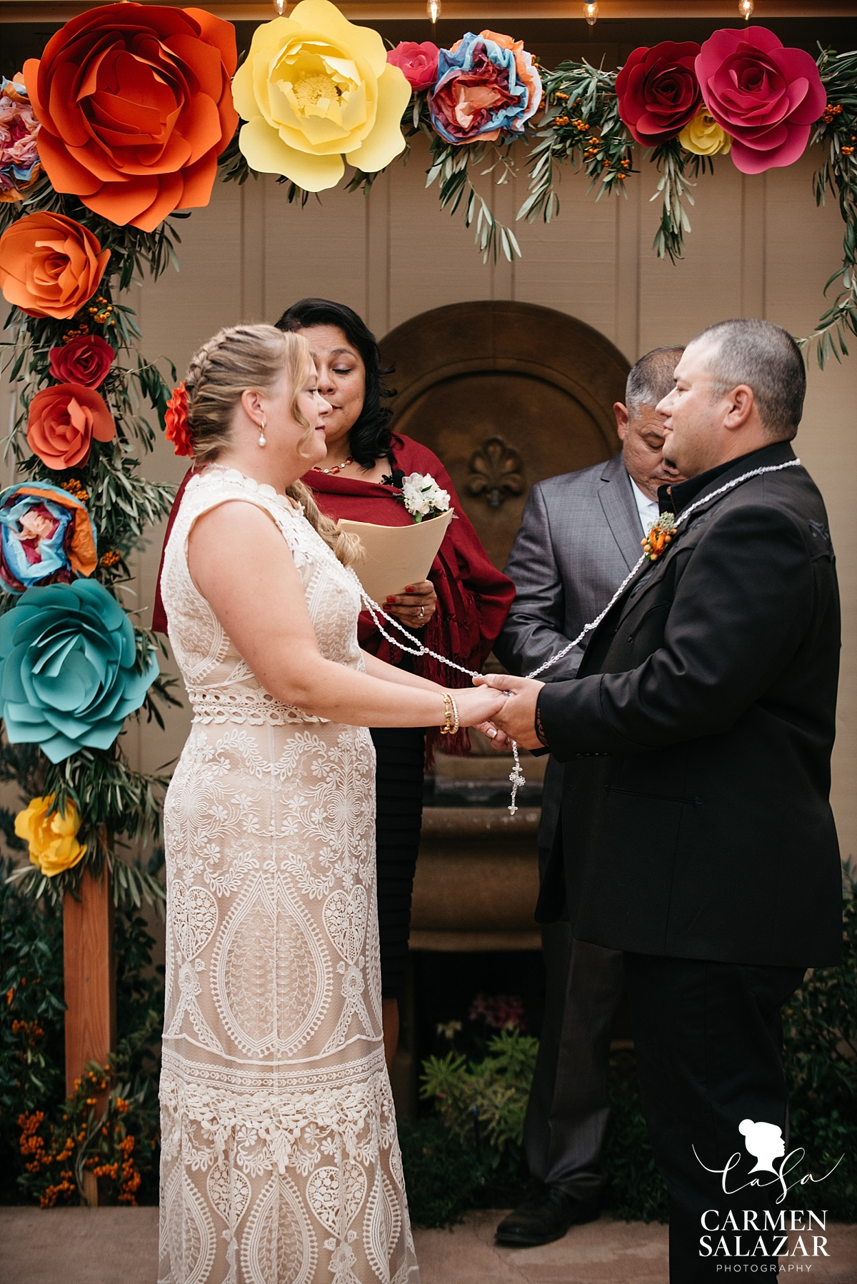 Mexican Catholic backyard wedding ceremony - Carmen Salazar