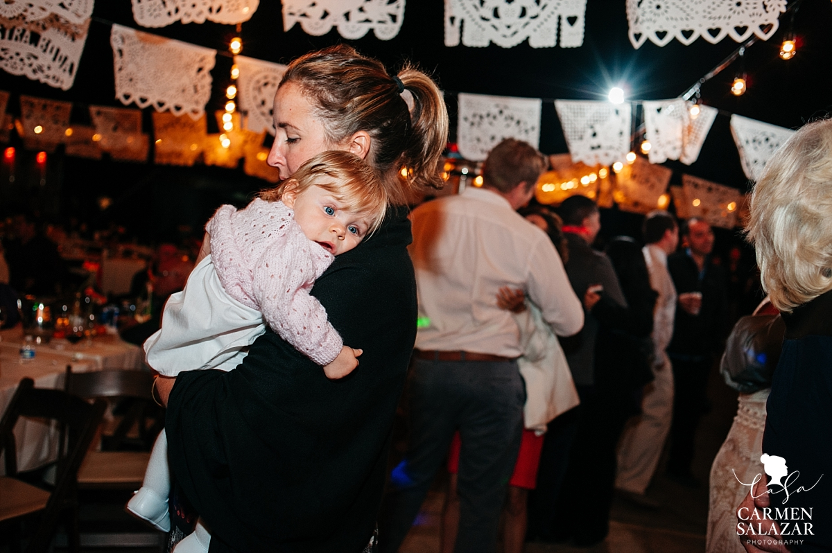 Adorable baby at fall private estate wedding reception - Carmen Salazar