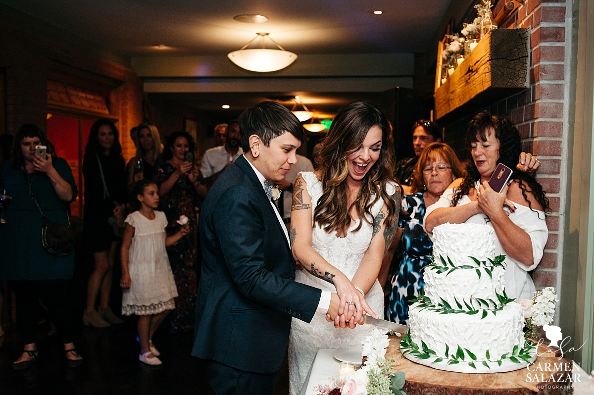 Same sex wedding reception cake cutting - Carmen Salazar