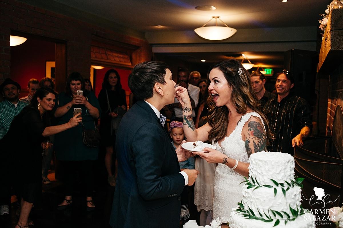 Silly cake cutting at LGBT wedding - Carmen Salazar