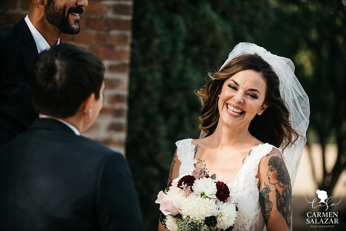 Smiling bride at California lesbian wedding - Carmen Salazar