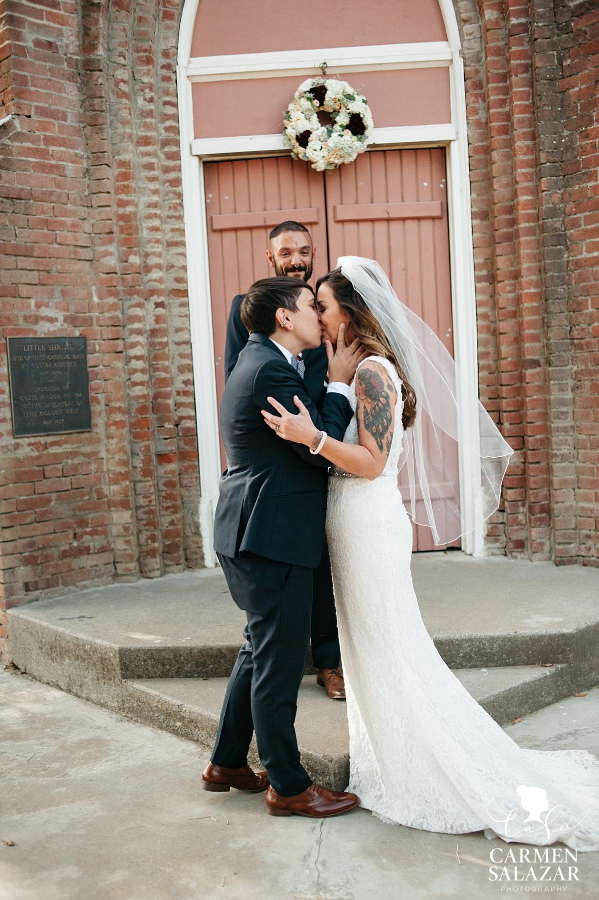 First kiss at Little Shrine of Grimes lesbian wedding - Carmen Salazar