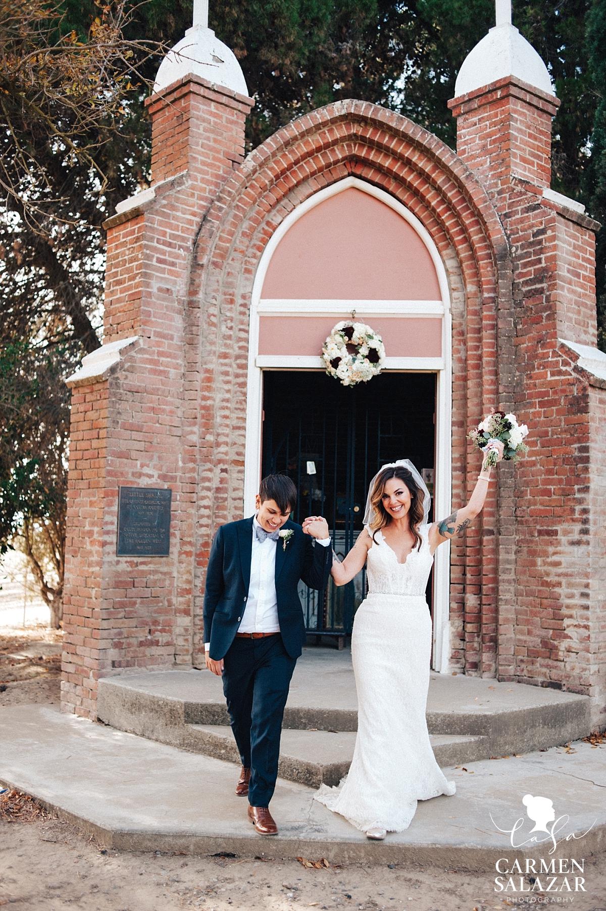 Newlyweds at Coloma Same Sex Wedding - Carmen Salazar
