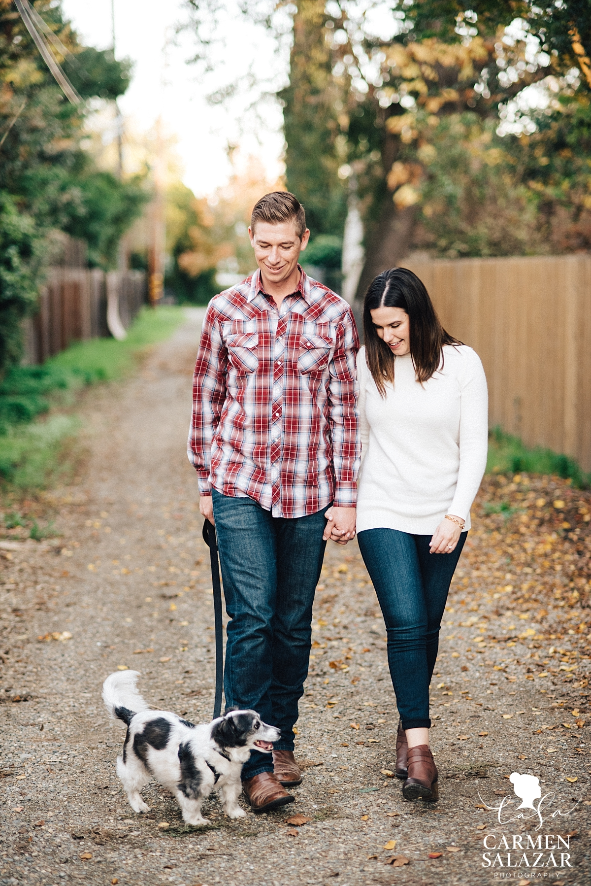 Fall Sacramento engagement session with puppy - Carmen Salazar