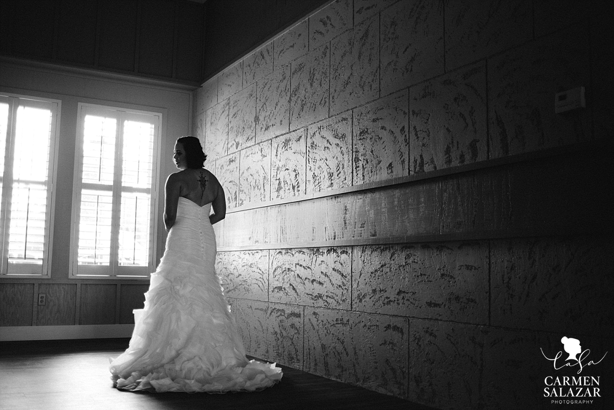 Dramatic bridal silhouette at Leer Vineyards - Carmen Salazar