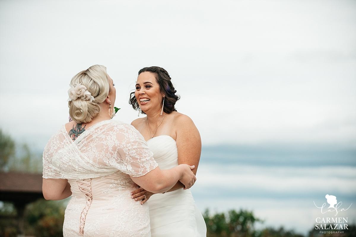Emotional lesbian wedding first look - Carmen Salazar