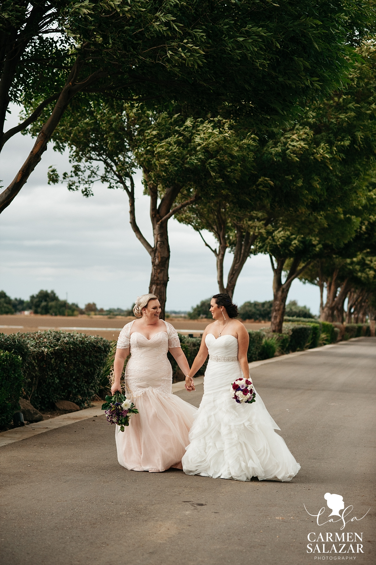 Same-sex bridal portraits at California winery - Carmen Salazar