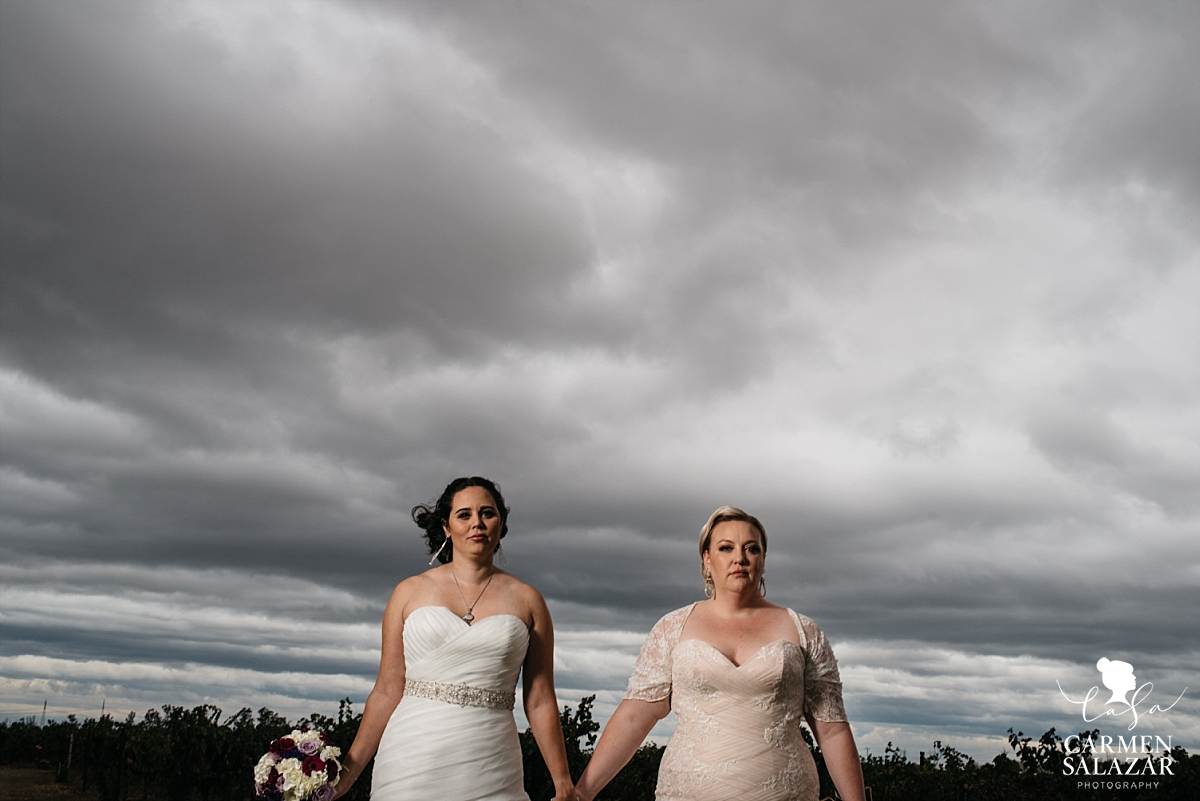 Stormy skies epic same sex wedding portraits - Carmen Salazar