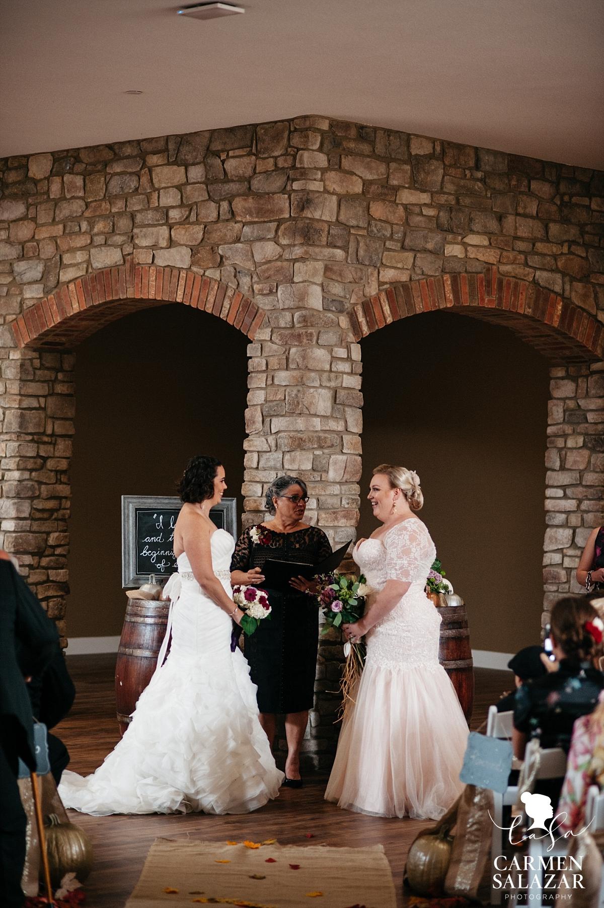 Lesbian wedding ceremony at Leer Vineyards - Carmen Salazar