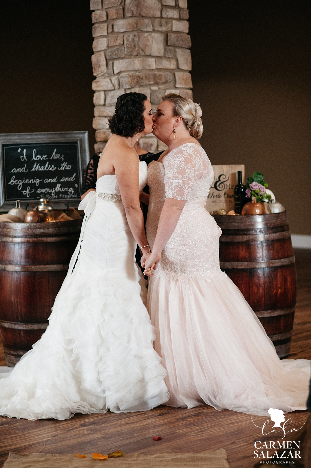 Same sex first kiss at Leer Vineyards - Carmen Salazar