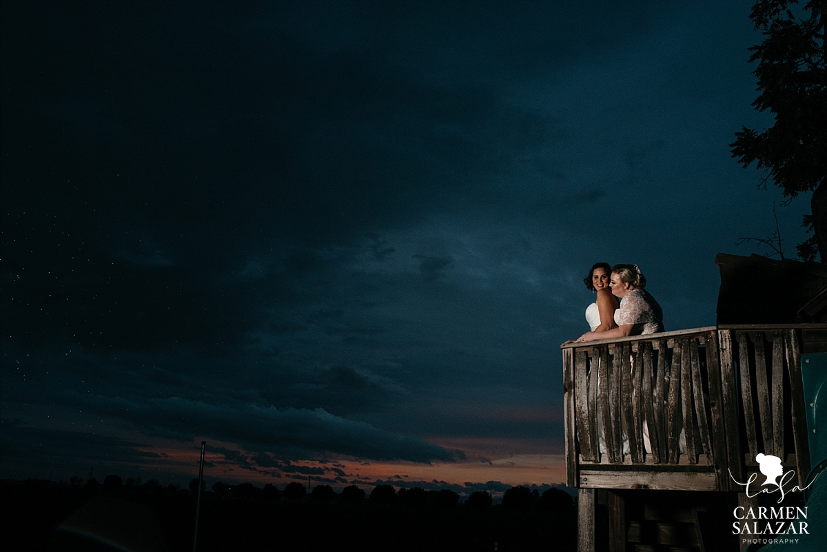 Epic treehouse same-sex sunset wedding photography - Carmen Salazar
