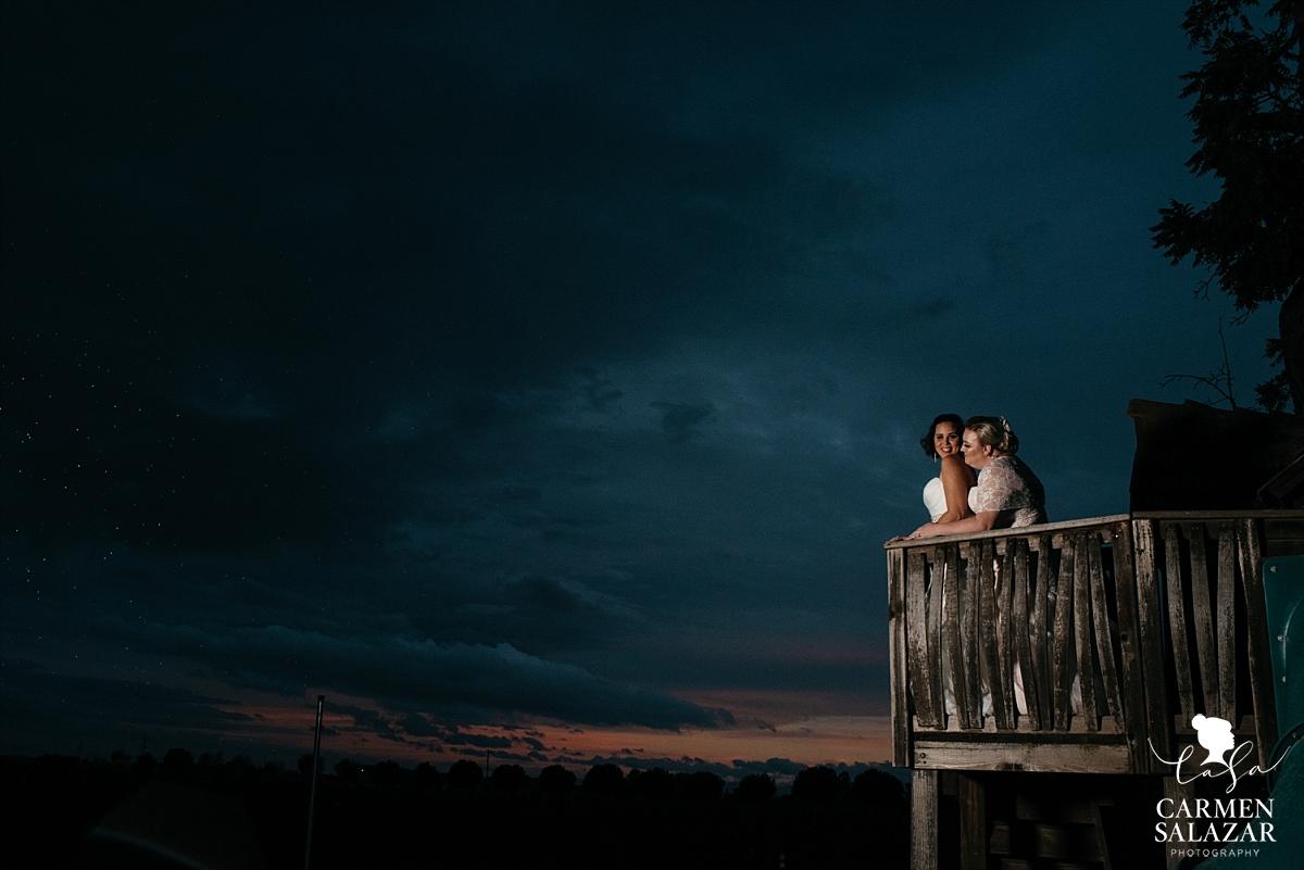 Epic treehouse same-sex sunset wedding photography - Carmen Salazar
