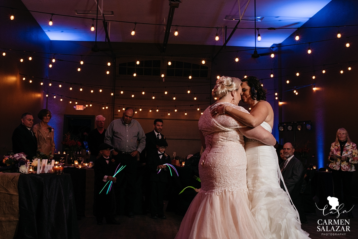 Same-sex romantic first dance at fall wedding - Carmen Salazar