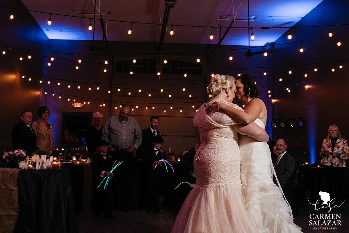 Same-sex romantic first dance at fall wedding - Carmen Salazar