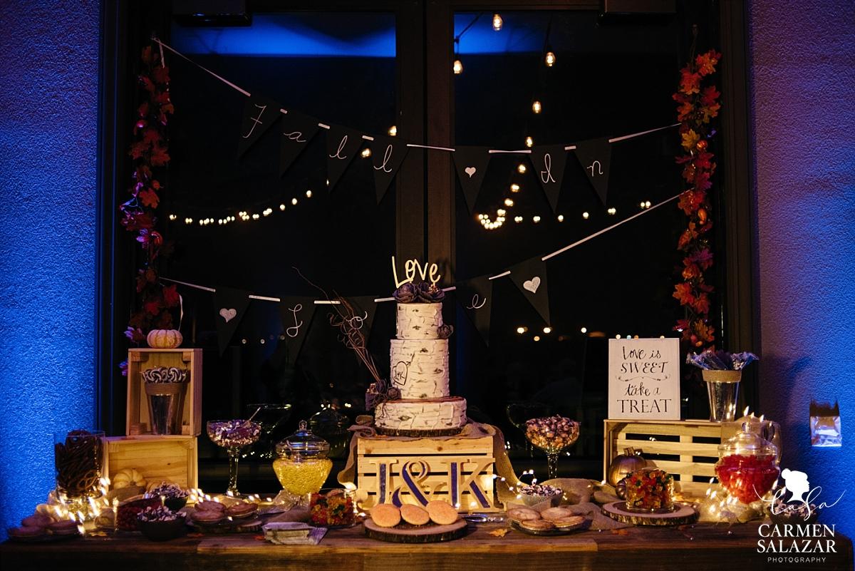 Fall themed wedding cake and dessert table - Carmen Salazar