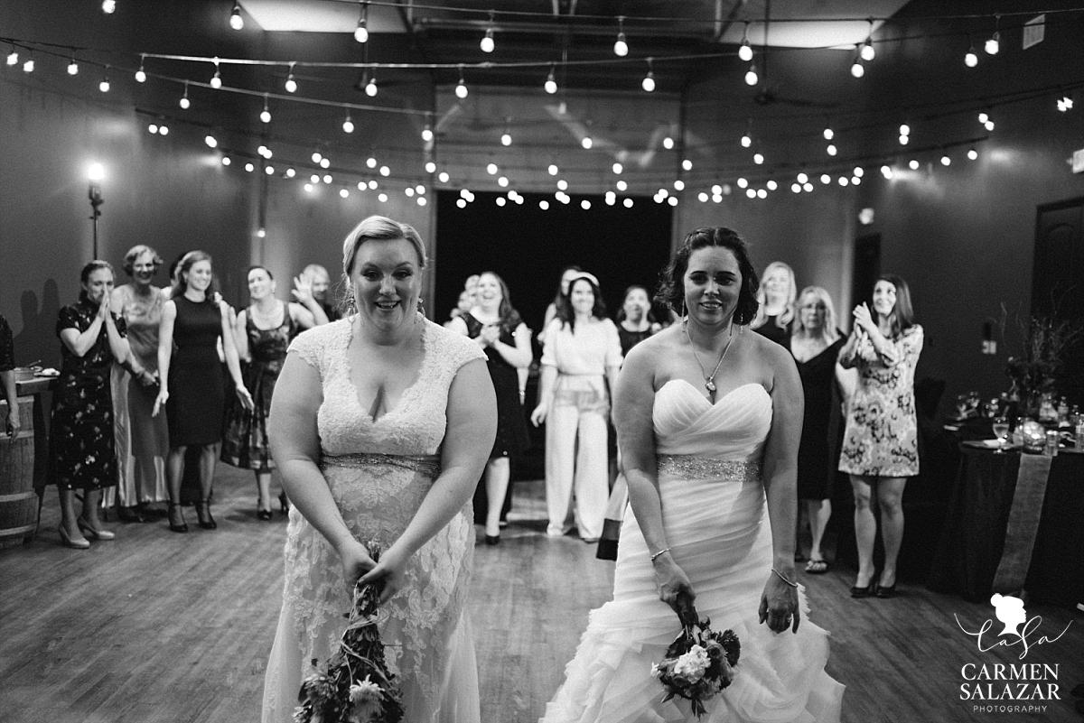 Two bride bouquet toss at lesbian wedding - Carmen Salazar