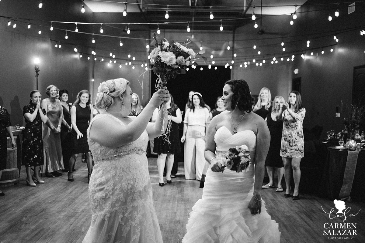 Same-sex bouquet toss at vineyard reception - Carmen Salazar