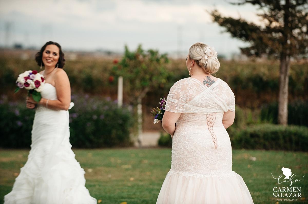 Same sex wedding first look photography - Carmen Salazar