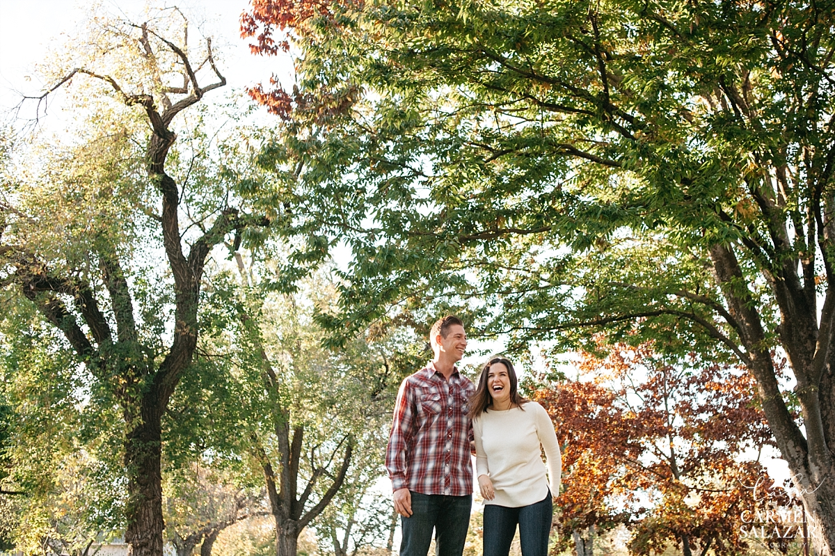 East Sacramento fall leaves engagement - Carmen Salazar