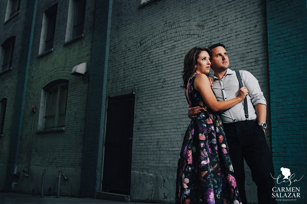 Downtown Sacramento night engagement photography - Carmen Salazar