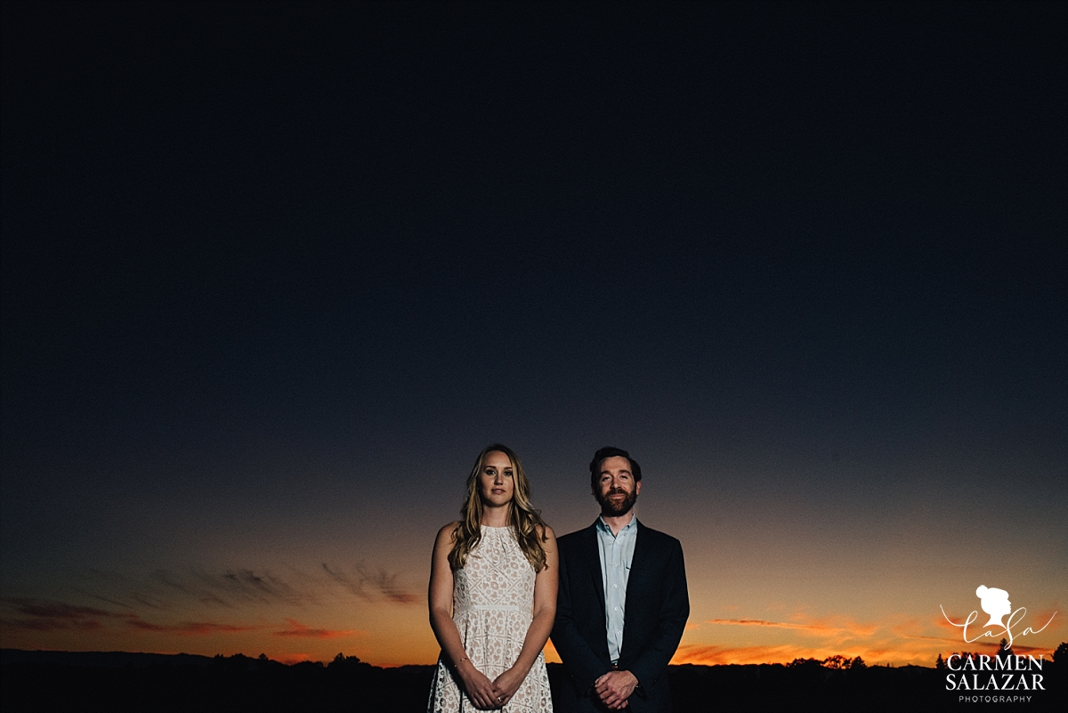 Dramatic sunset engagement photography - Carmen Salazar