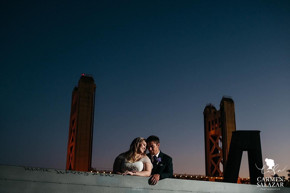 Old Sacramento epic night wedding photography - Carmen Salazar
