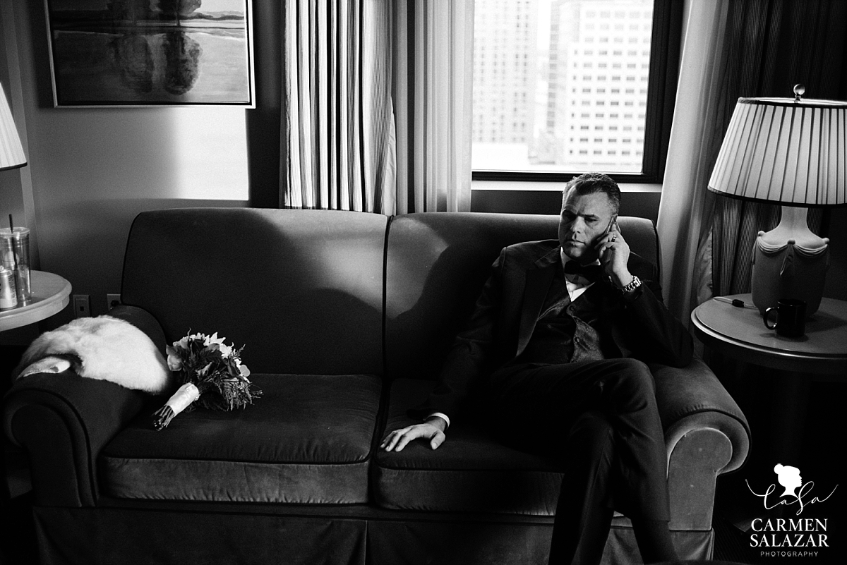 Groom taking a phone call at Citizen Hotel penthouse - Carmen Salazar