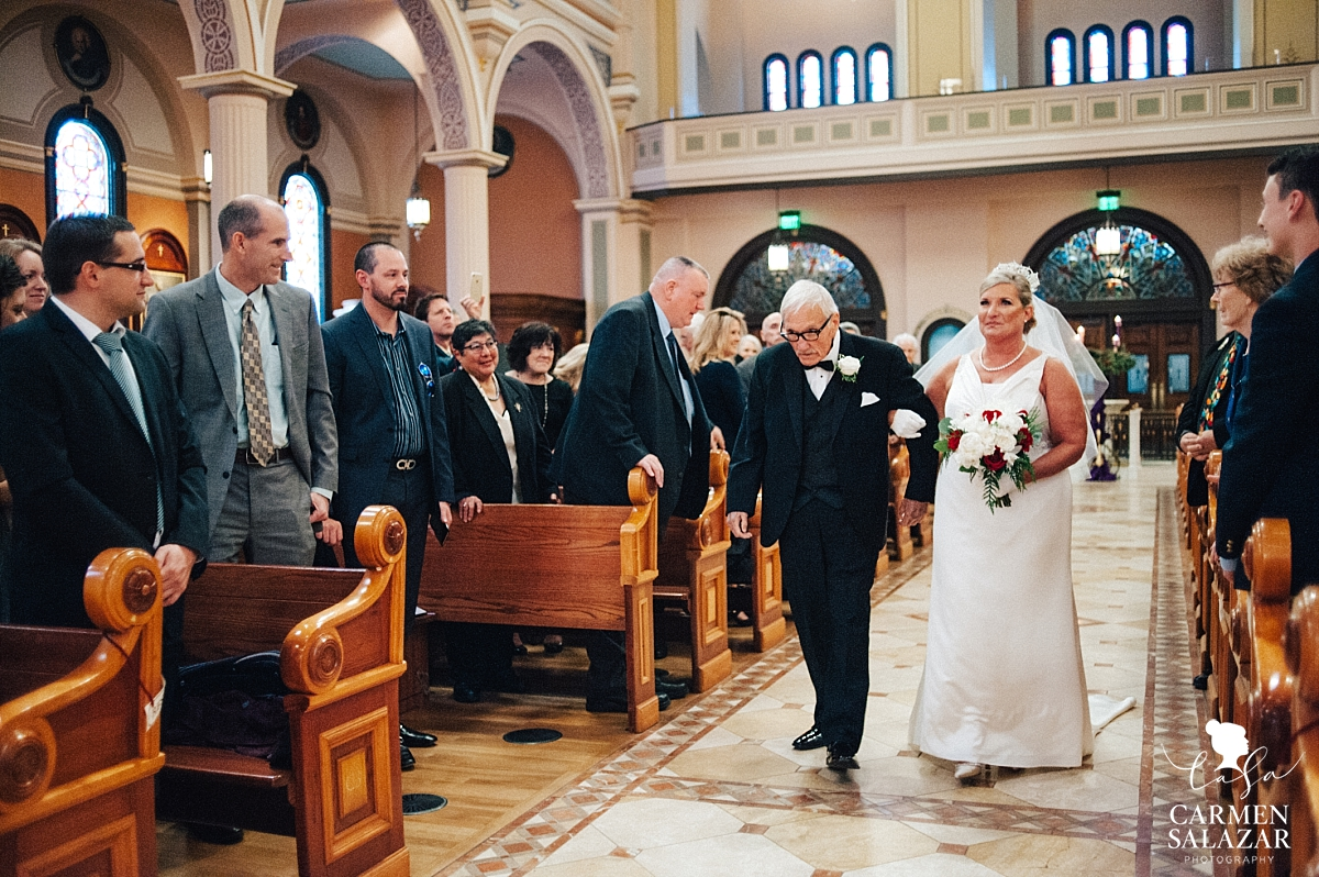 Bride walking down the aisle at Cathedral of the Blessed Sacrament - Carmen Salazar