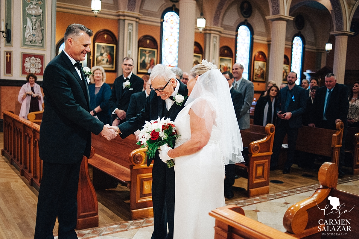 Father gives bride away at cathedral wedding - Carmen Salazar