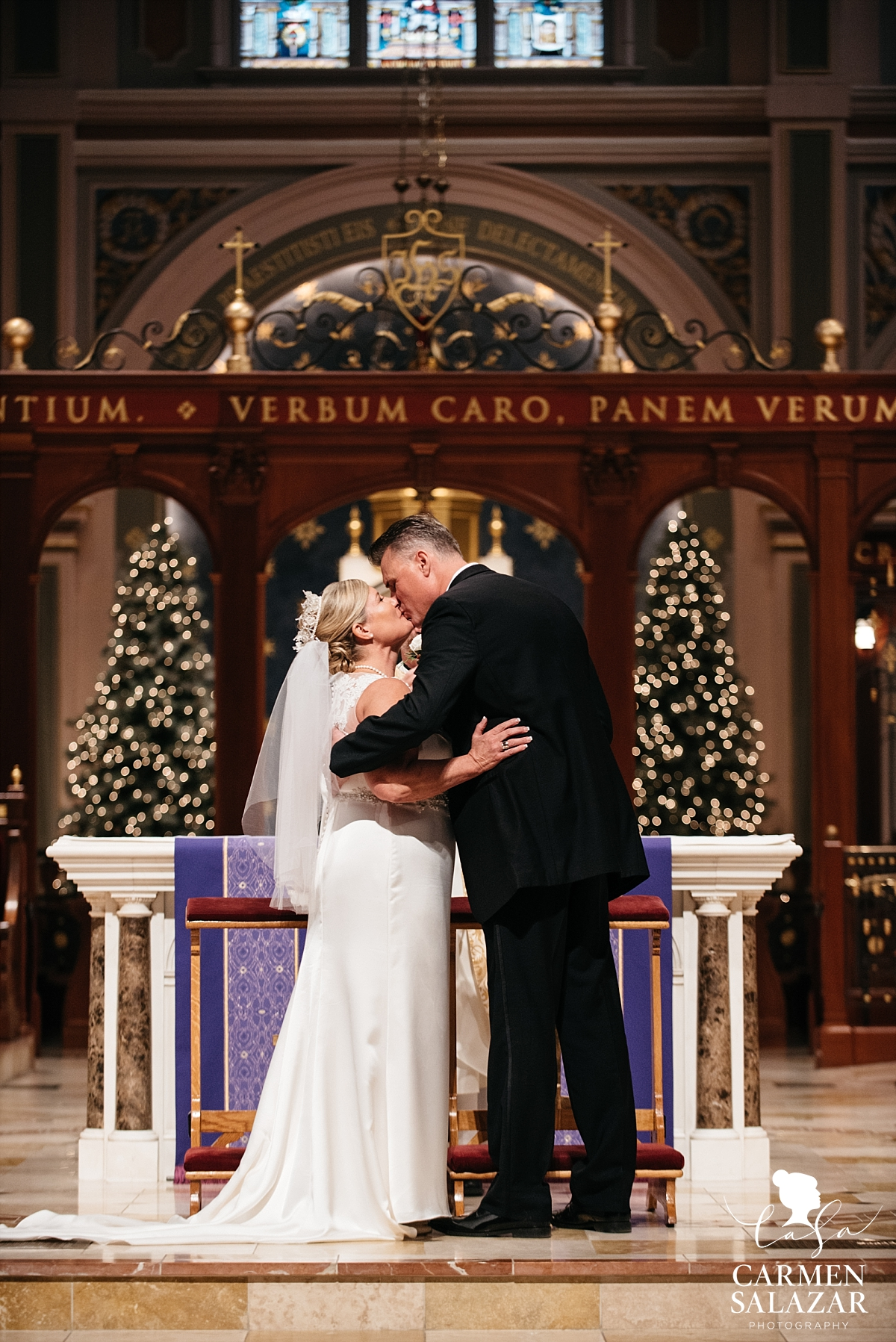 First kiss at Sacramento cathedral wedding - Carmen Salazar