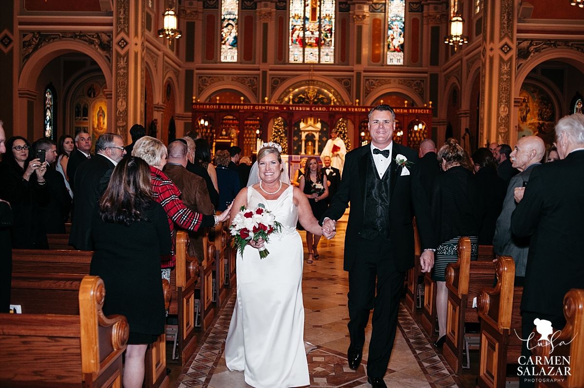 Newlyweds at Cathedral of the Blessed Sacrament wedding - Carmen Salazar