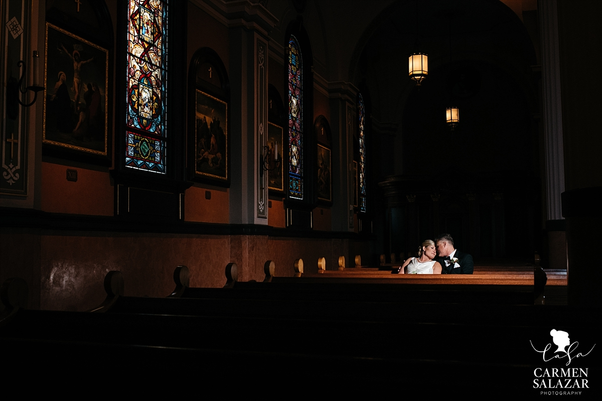 Moody cathedral wedding portraits - Carmen Salazar
