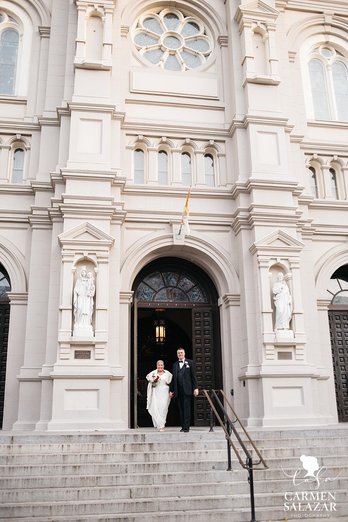Newlyweds exiting Sacramento cathedral - Carmen Salazar