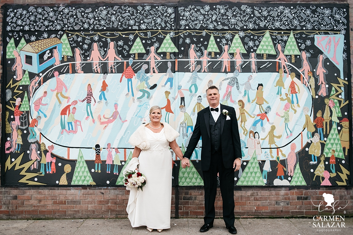 Downtown Sacramento mural wedding portraits - Carmen Salazar