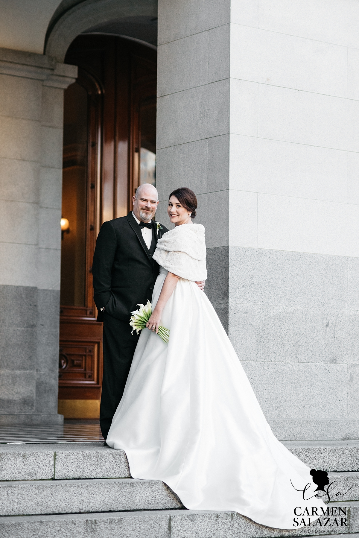 Bride and groom portraits at State Capitol - Carmen Salazar