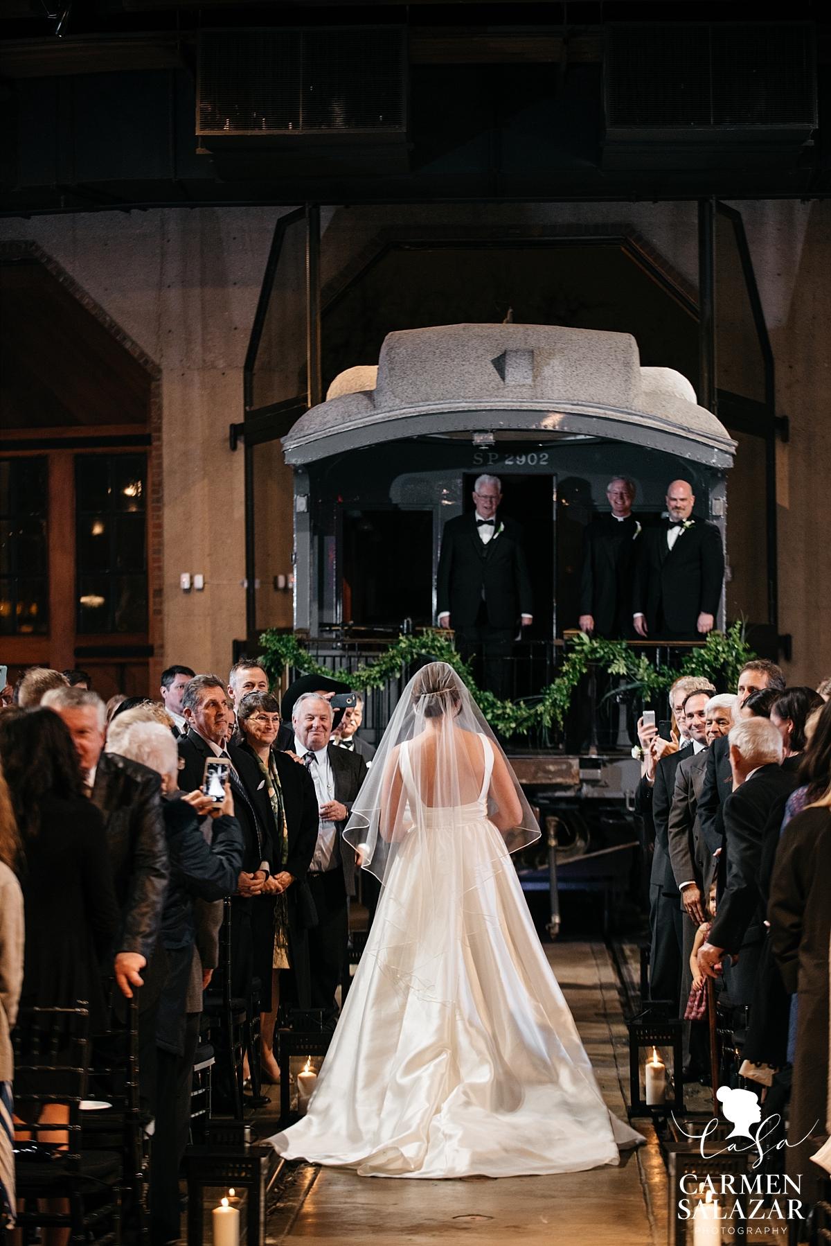 Bride walking down the aisle at Railroad Museum - Carmen Salazar