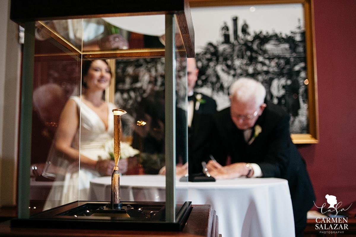 Signing marriage license at Golden Spike - Carmen Salazar
