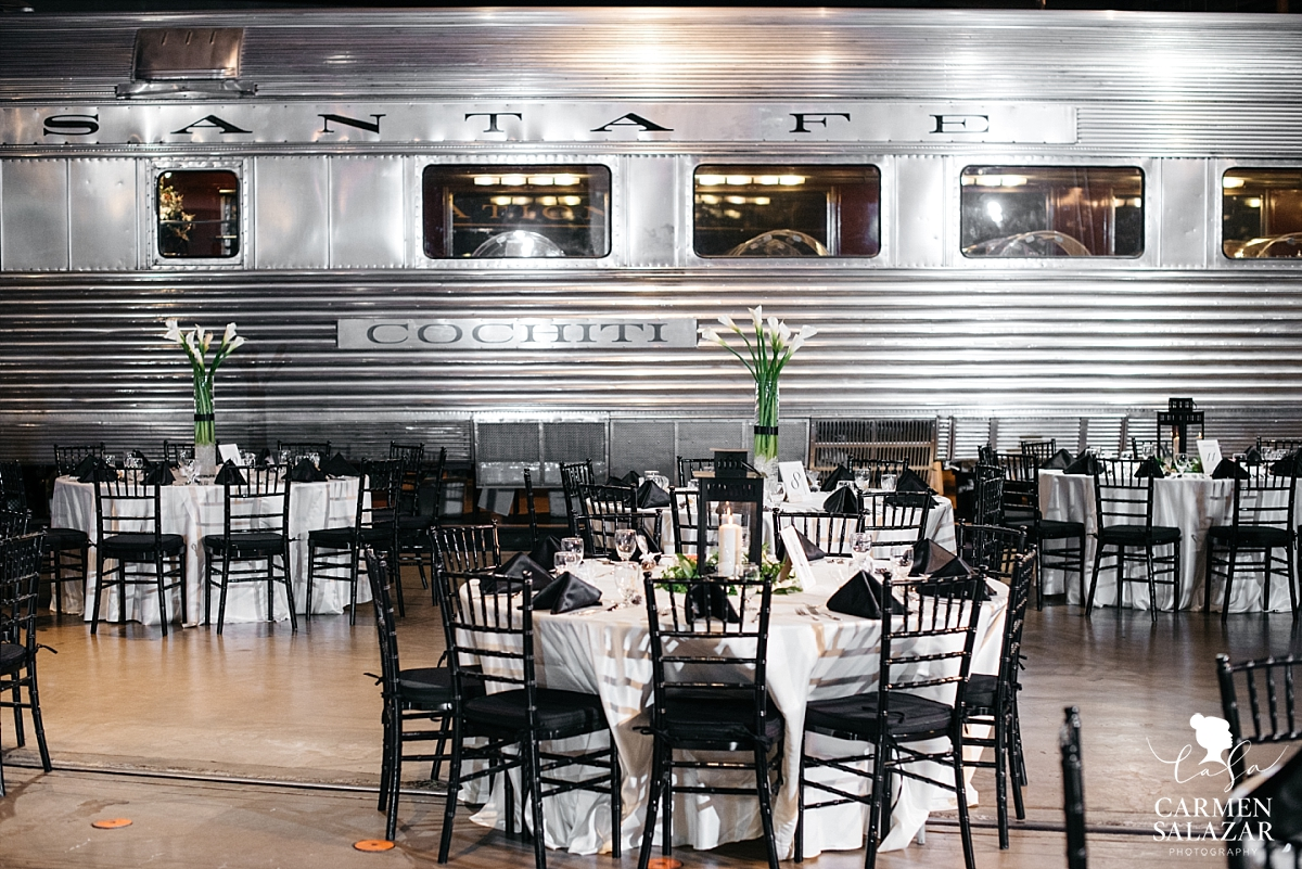 Simplistic reception design at California Railroad Museum - Carmen Salazar