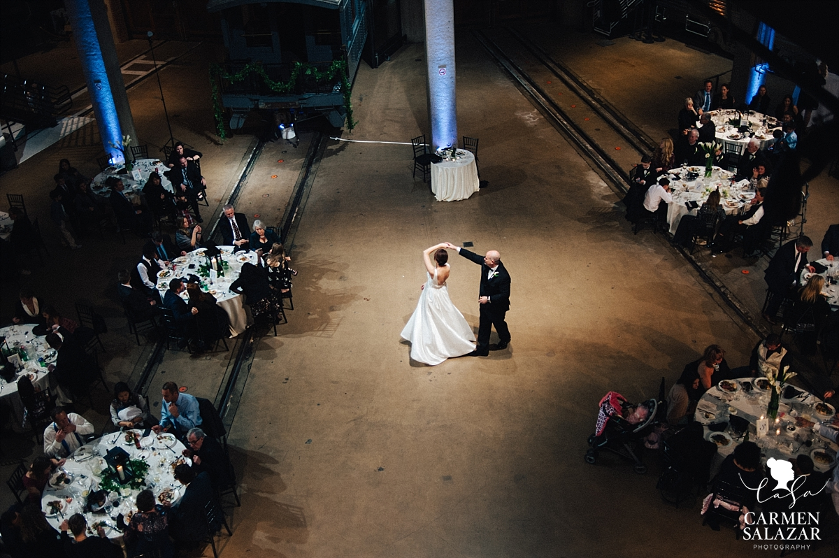 Arial view of bride and groom's first dance - Carmen Salazar