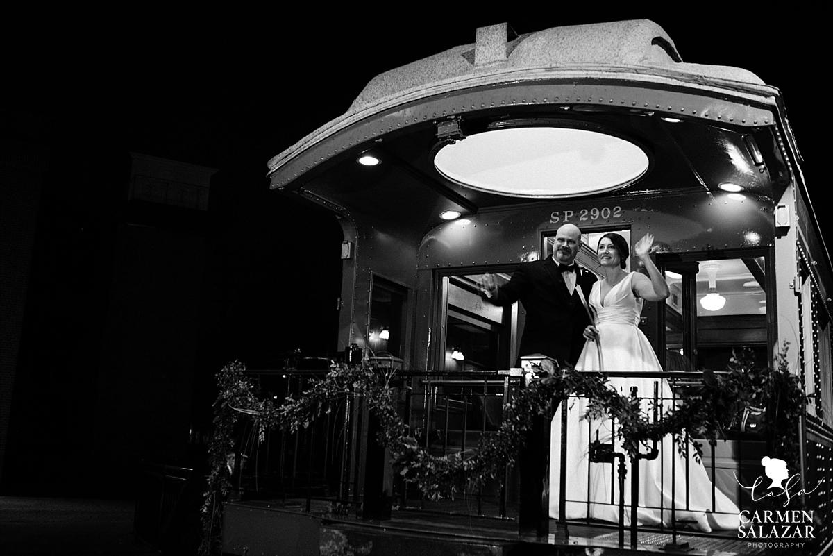 California Railroad Museum wedding train farewell - Carmen Salazar