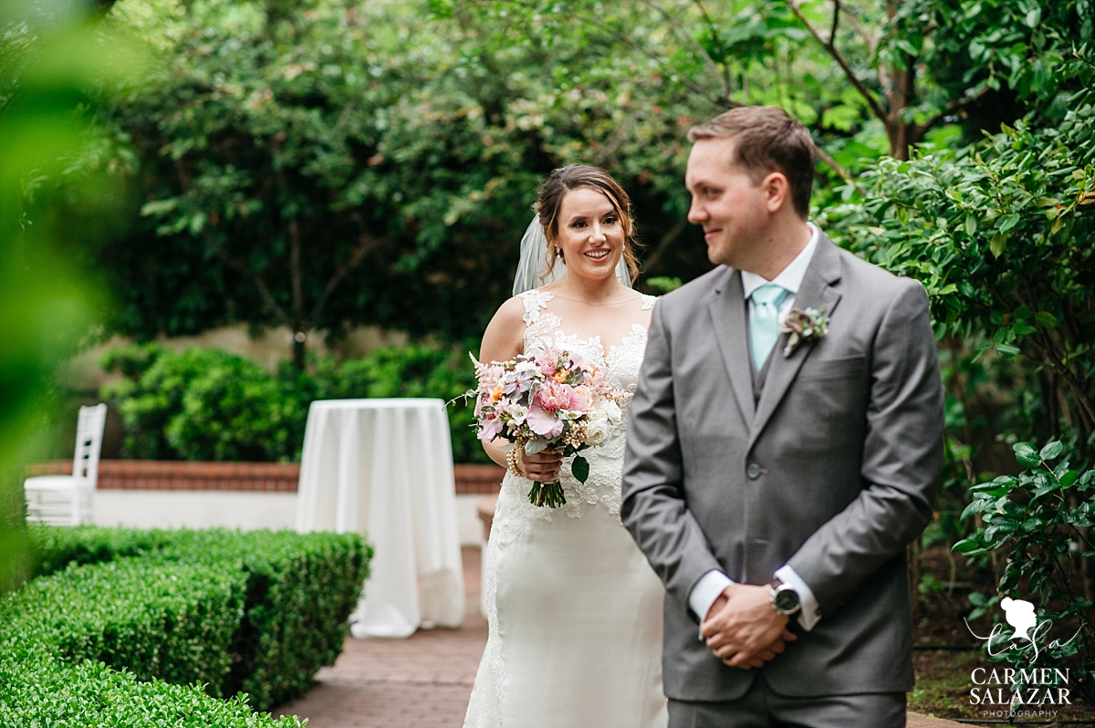 Bride's first look with groom at Vizcaya - Carmen Salazar