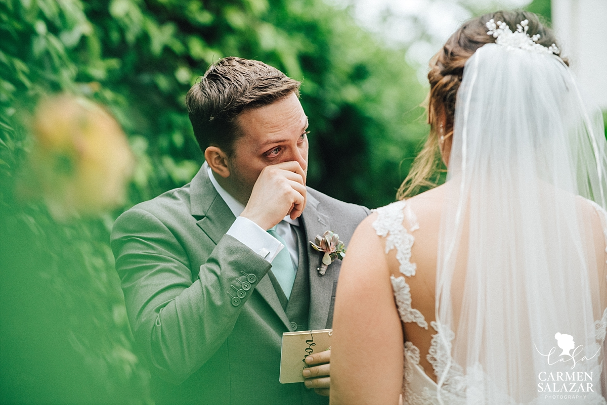 Emotional groom at Vizcaya first look - Carmen Salazar