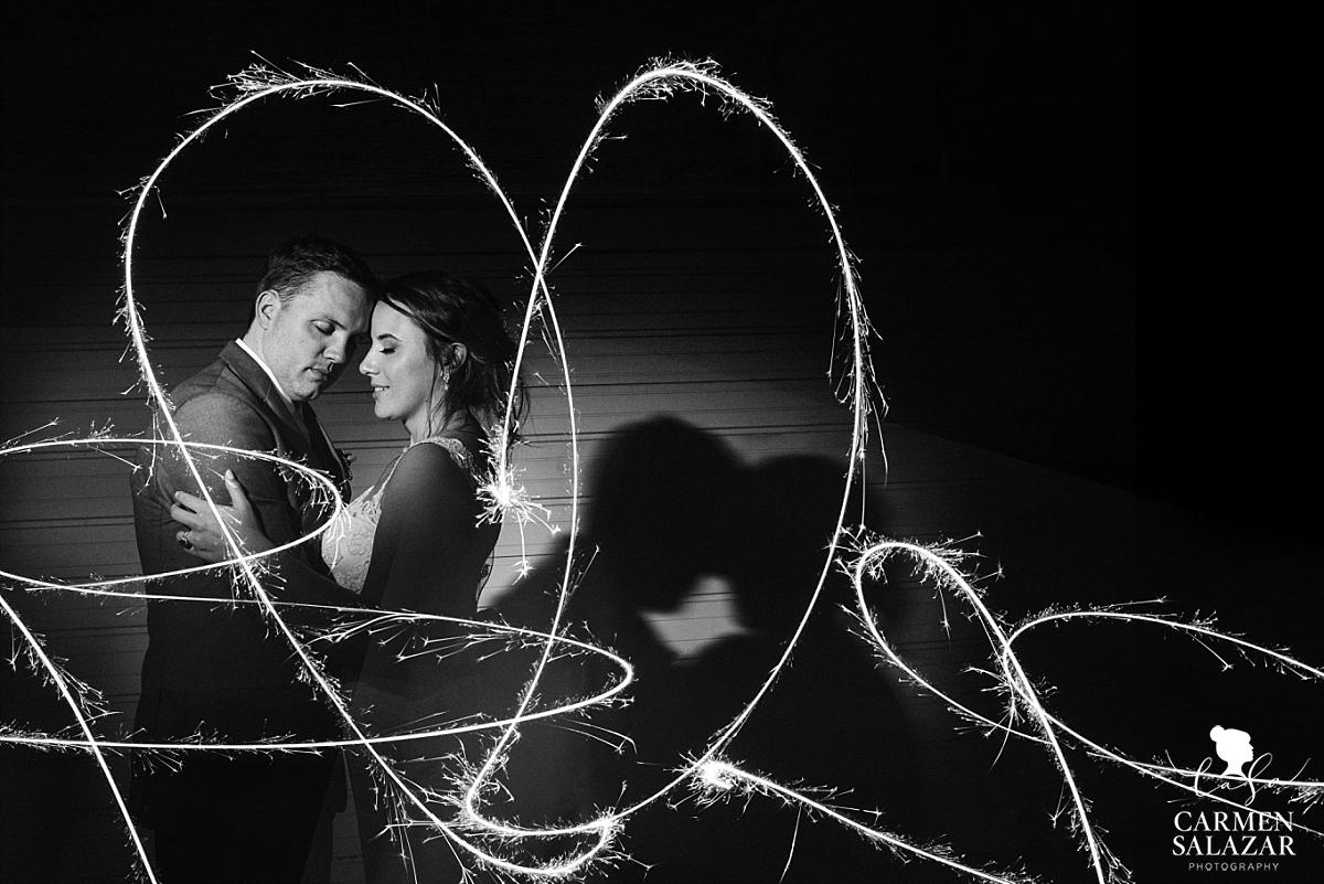 Bride and groom sparkler portraits - Carmen Salazar