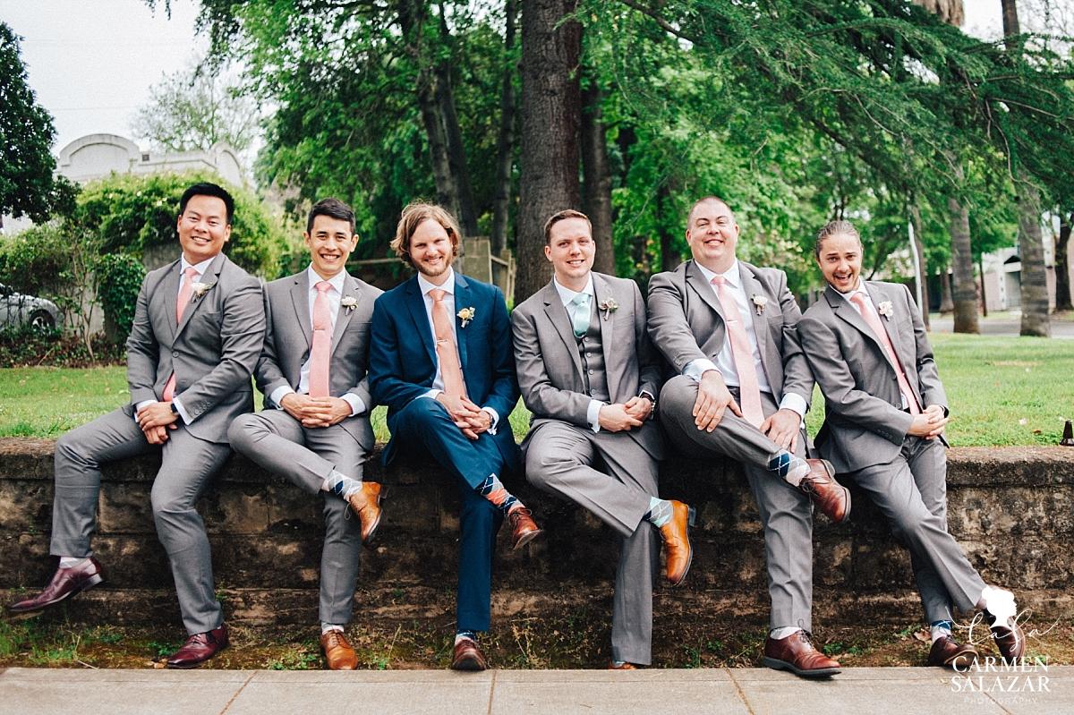 Funny groomsmen sock portraits - Carmen Salazar