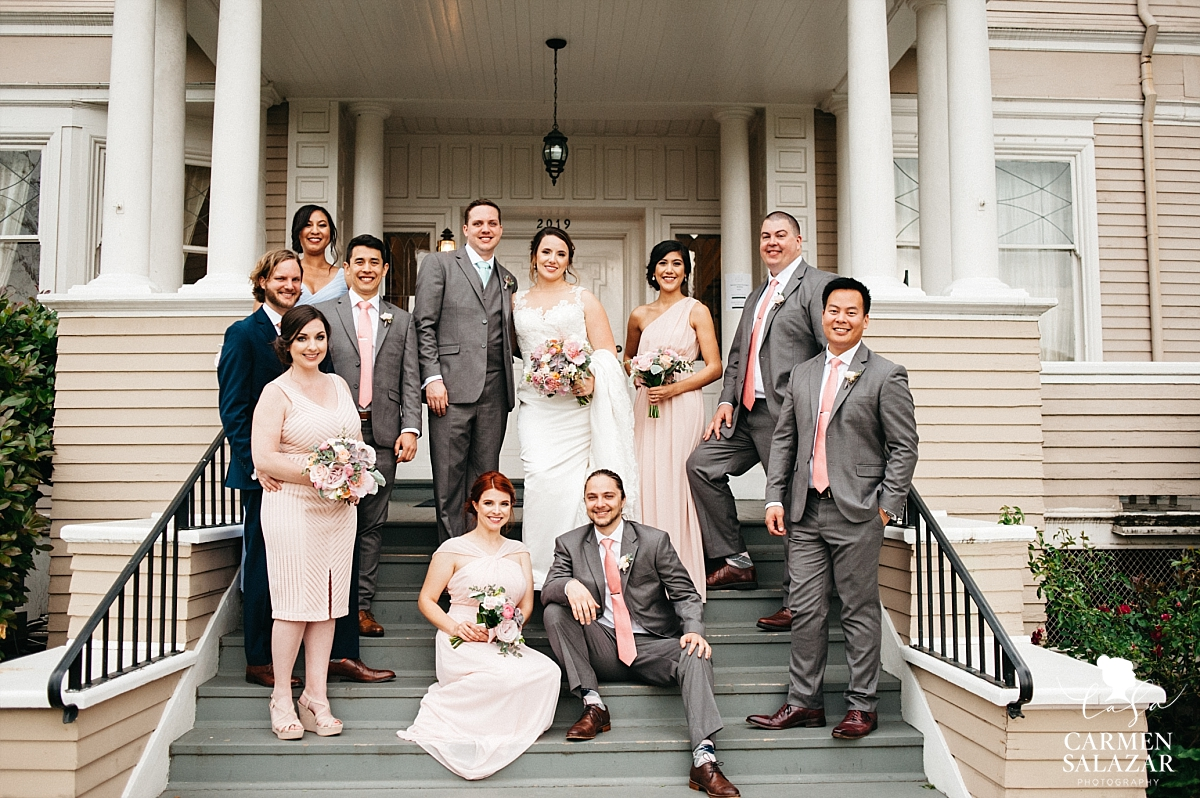 Bridal party on Vizcaya Mansion porch - Carmen Salazar